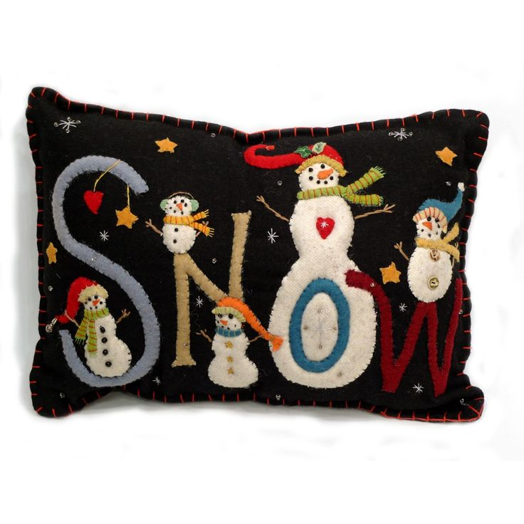 """SNOW"" Christmas Pillow - Wool Felt Applique"