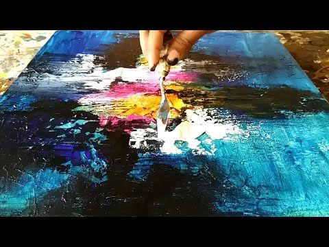 Abstract Painting / Demonstration of Acrylic Abstract painting and Texturing canvas with GESSO - YouTube