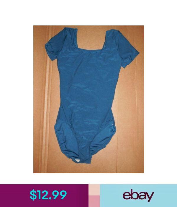 NWT Short sleeve spandex leotard Ladies Sizes Dark Teal Dance Shelf Lined