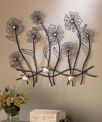 Metal Flower Wall Candle Sconce