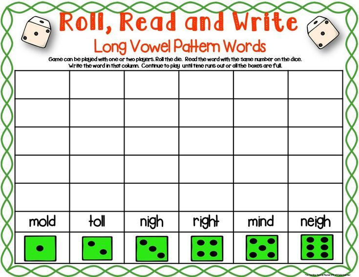 Three Phonics Long Vowel Patterns Dice Games Old Oll Ild Igh