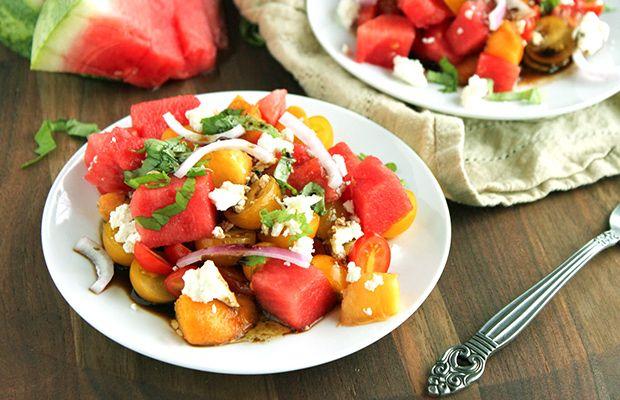 Peachy Tomato Watermelon Feta Salad Recipe