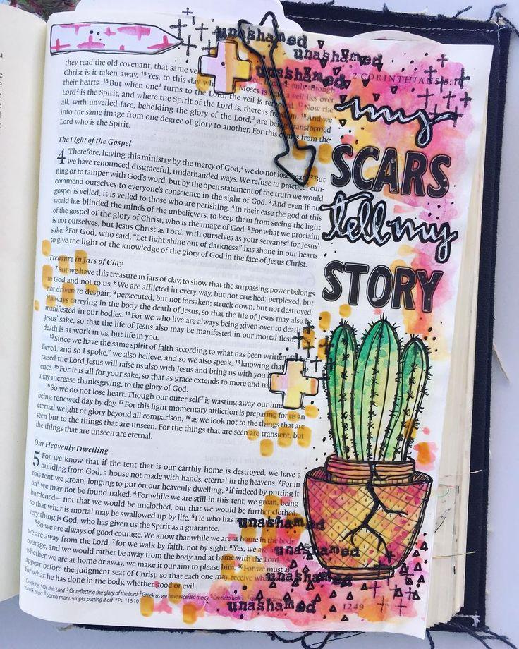 Bible Journaling by @kristenwolbach | 2 Corinthians 4:7-9