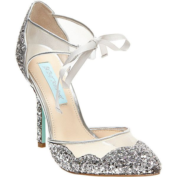 Betsey Johnson Stela ($129) ❤ liked on Polyvore featuring shoes, pumps, heels, silver, pointy-toe pumps, stiletto heel pumps, glitter pumps, heels stilettos and blue pumps