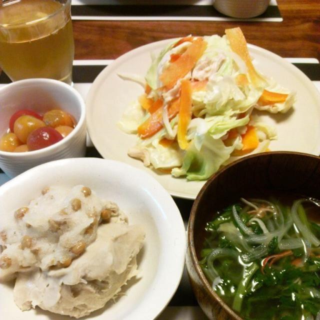 そばがき+おろし納豆 春菊とオニオンのスープ 野菜とささみの蒸し物+味噌だれ トマトのコンポート - 13件のもぐもぐ - 夜ご飯。そばがきー♪ by pirararara