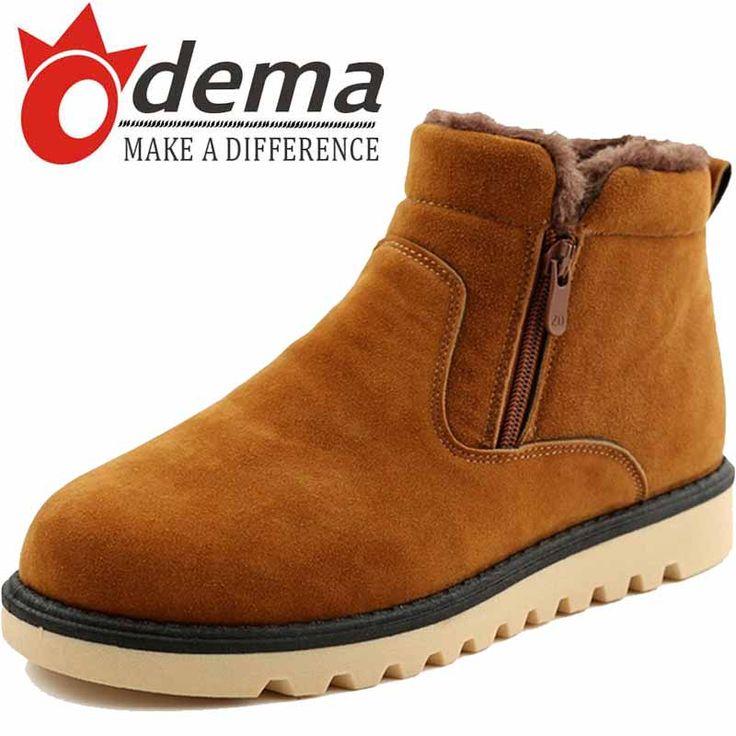 2016 Warm Winter Plush Men Boots Fashion Suede Leather Side Zipper Casual Men's Short Snow Boots alishoppbrasil