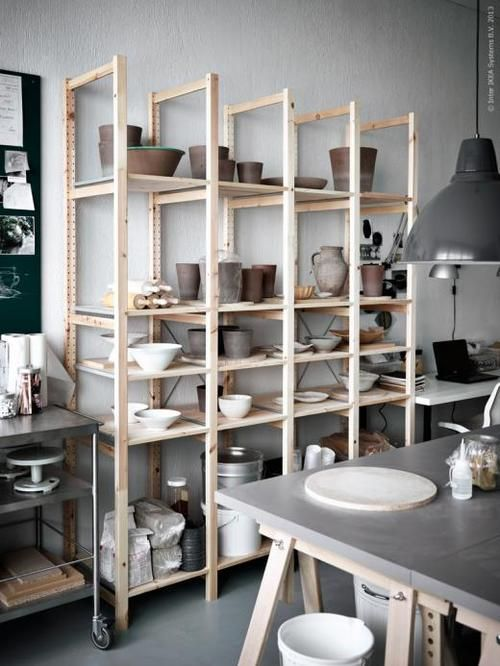 Kitchen shelves - light wood and grey decoration