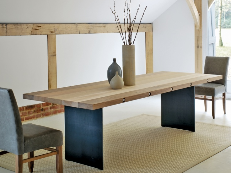 This is the Bolt table with mixed timbers (Oak, Walnut, Maple and Cherry), stainless steel legs and bolts!