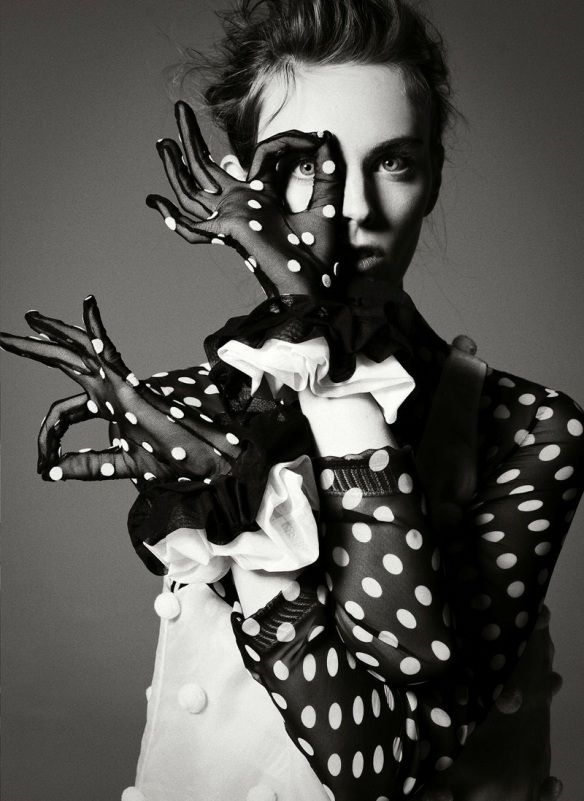 Jean-François Campos is a French photographer who divides his time between New York and Paris. This striking black and white editorial, modeled by the polka dot ridden Myf Shepherd and styled by Vittoria Cerciello, was shot for Flair magazine's November 2011