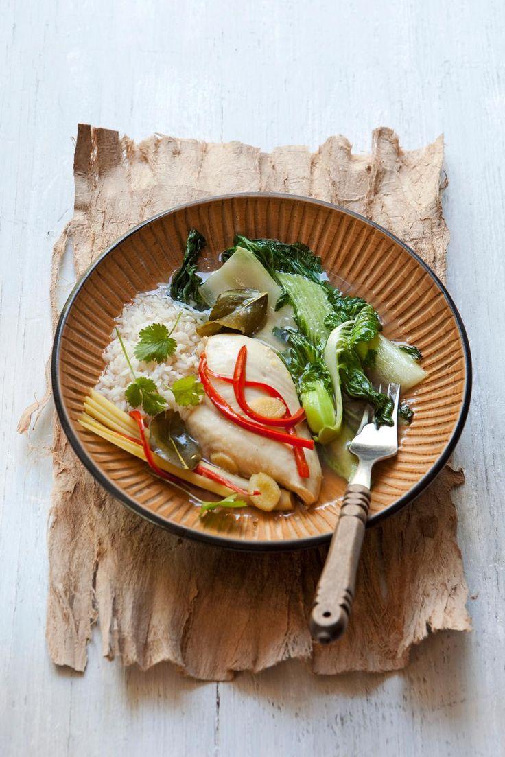 thaise gepocheerde kipfilet