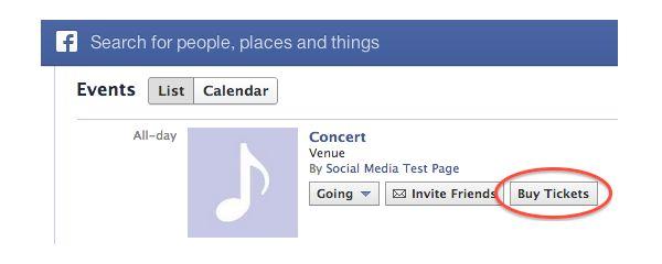 facebook prueba un nuevo botón para compra de entradas