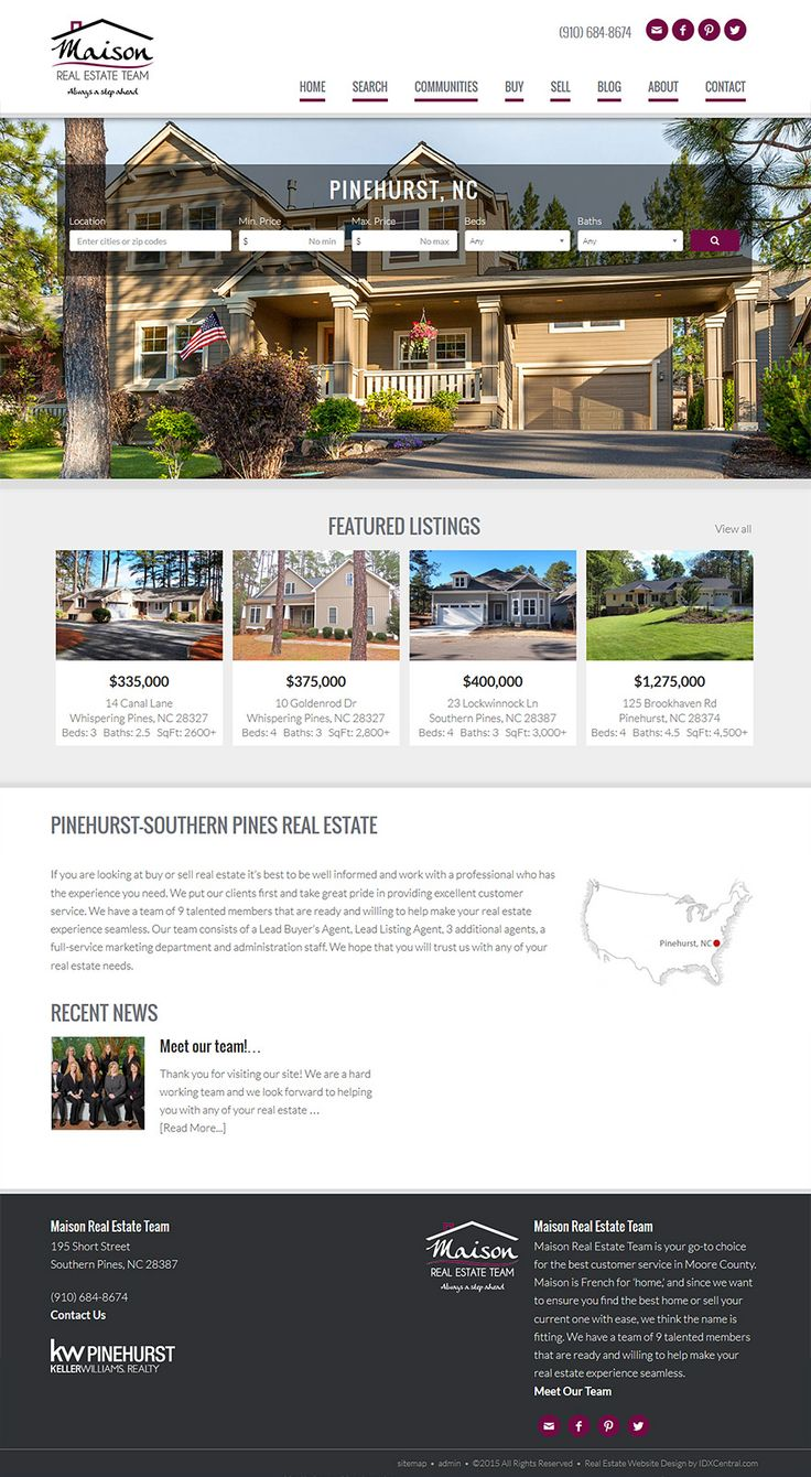 Real Estate Template%0A North Carolina  View the Maison Real Estate Team u    s stunning responsive real  estate website  Built