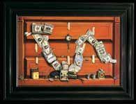 Otis Kaye (Dresda 1885-Germania 1974) D'-JIA-VU? (Il mercato azionario) 1937 Dipinto su tavola  New York, Collezione privata