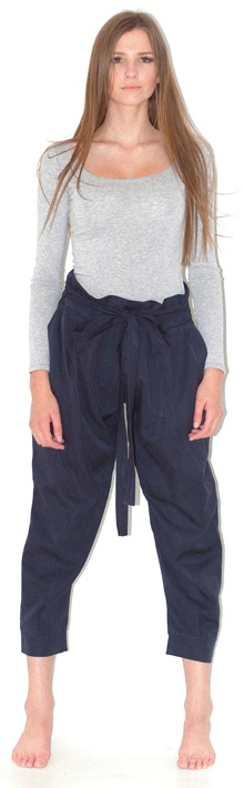 ls tee gilli peg pants - gathered peg pants, hot international trend, ties up at front, volumes at top and tapers at ankle, high waisted