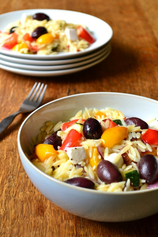 Roasted vegetable feta and olive orzo salad. Yes. Please...