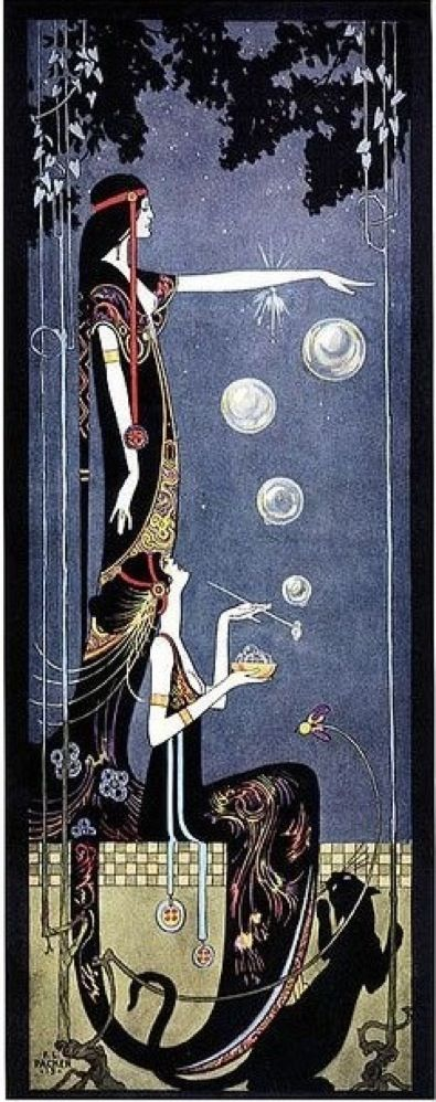 Art Deco/Nouveau ladies and panther illustration by Frederick Little Packer (American, 1886–1956)