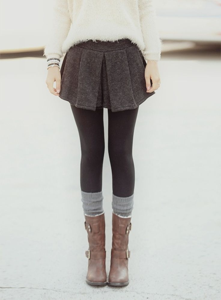 Trend Alert: Mini Skirts & Sweaters. I would do a longer skirt to the knees but I still like it.