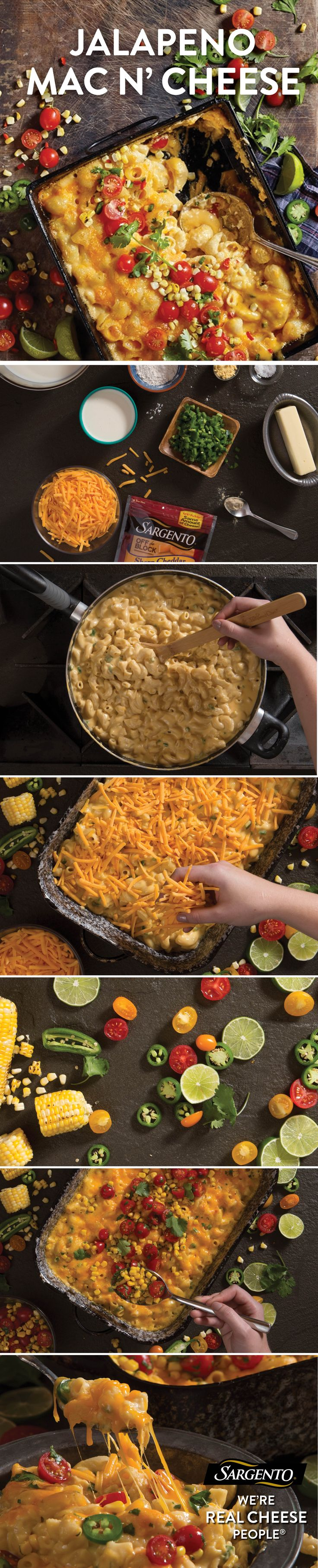 If you like classic meals with a little kick, try this recipe for jalapeño mac and cheese with corn and tomato salad. Made with fresh ingredients—like whole milk, jalapeño peppers, cherry tomatoes, grilled corn, lime juice, cilantro and with Sharp Cheddar cheese that's always shredded fresh off the block—this baked beauty will be your new best friend. Get the complete recipe at Sargento.com.