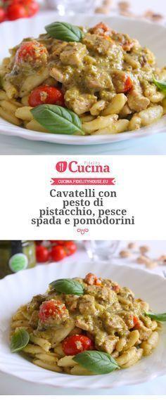 Cavatelli con pesto di pistacchio, pesce spada e pomodorini