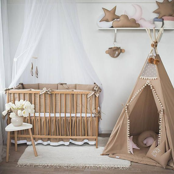 Cacao Baby Bedding With Feathers Embroidered Baby Unisex Bedding