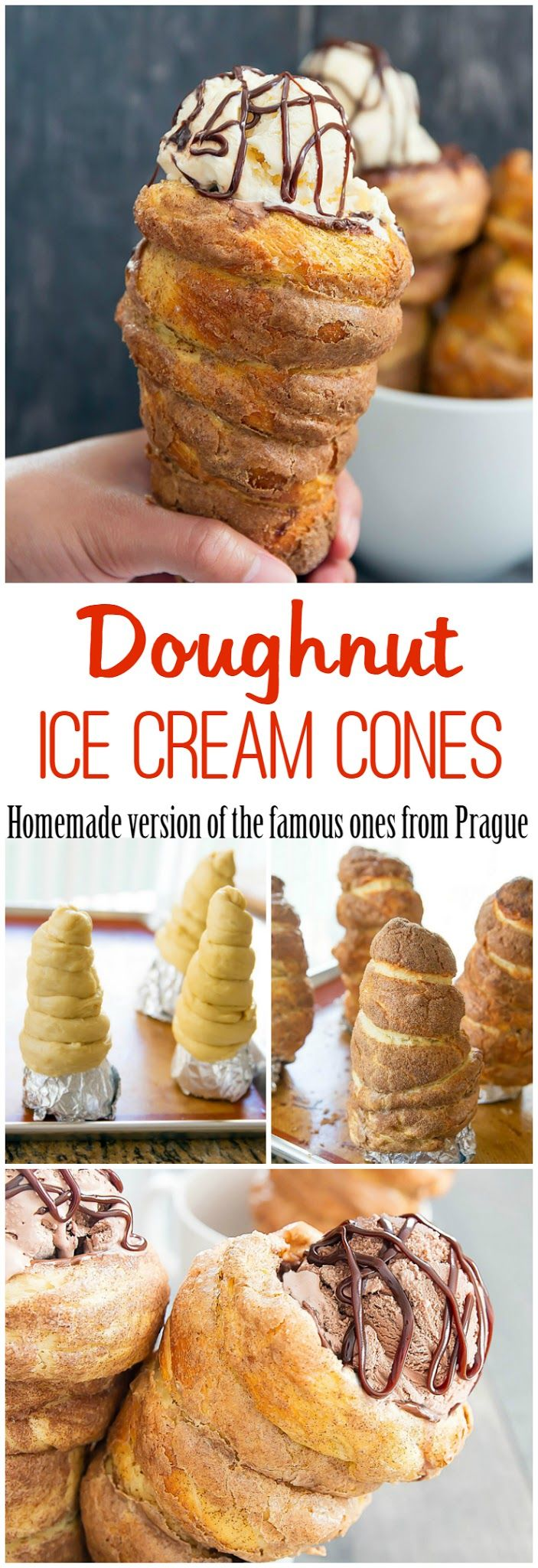 Doughnut Ice Cream Cones! Homemade version of the famous ones from Prague also known as chimney cakes and trdelníks.