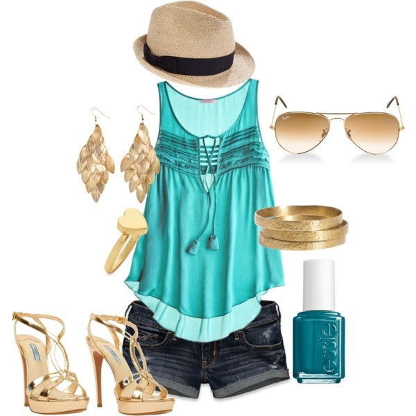 Gold and Blue, created by hadyn-jones on Polyvore    summer night out?!?!