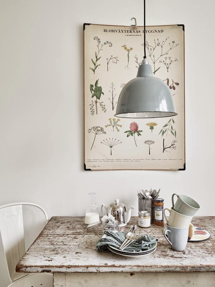 interior, vintage light shade, table, dining room, plant print, poster, grey, home, kitchen - Love the herb poster illustration