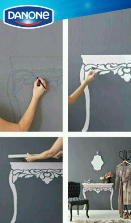 Draw the table on the wall and put a shelf
