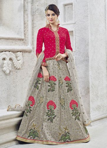 03642a4c59 Pink And #Grey #Combination #Lehenga #Choli | Fashion Style in 2019 ...