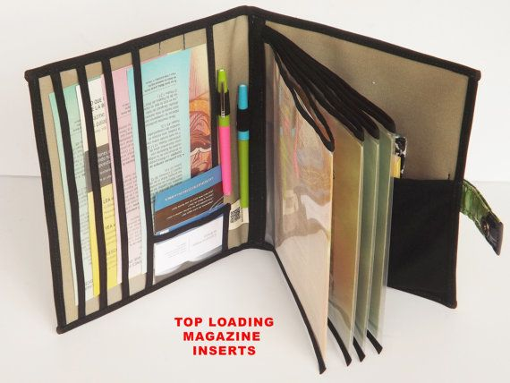https://www.etsy.com/shop/BelloCovers  ◘Organizer does not include contents shown on photographs.  ◘Fabric placement and lining color may vary from that on picture.  ◘Organizer measures 11 X 9.25 inches.  ◘All inside pockets/sleeves are made of heavy weight clear protective plastic that will not stick to your publications.  ◘You will have a choice of the inside format of your organizer...you can choose TOP LOADING MAGAZINE INSERTS FOR for $38 or SIDE LOADING MAGAZINE INSERTS for $35…