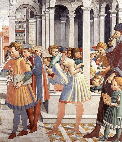 File:Benozzo Gozzoli - The School of Tagaste (detail) - WGA10286.jpg