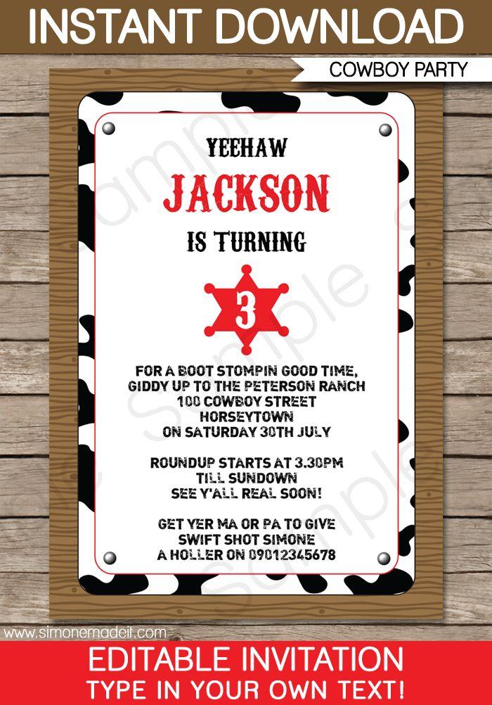 The 25+ best Cowboy party invitations ideas on Pinterest | Cowboy ...