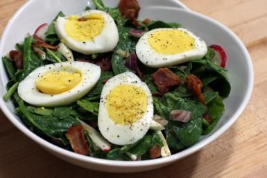 Wilted Spinach Salad with Homemade Bacon Dressing: A warm bacon dressing flavors this classic spinach salad.