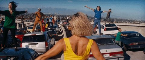 """When there's traffic as far as the eye can see…but you embrace it and blast your favorite music: 