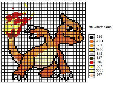 These are the cross stitch patterns for Charmander, Charmeleon, and Charizard.