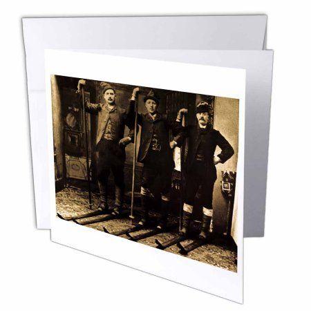 3dRose Nordic Ski Club Sepia Tone, Greeting Cards, 6 x 6 inches, set of 6