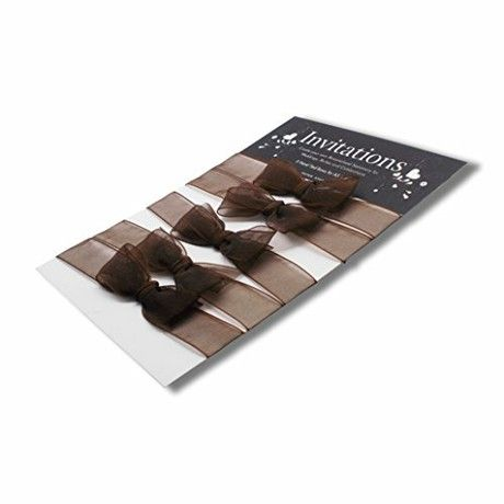 Paper State Invitations Hand Tied Card Ribbons - Organza Chocolate (Pack of 5)