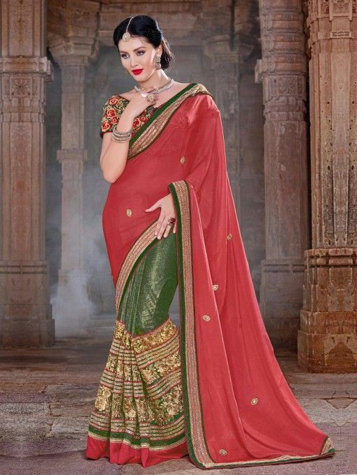 Green and Red Chiffon Saree with Embroidery Work