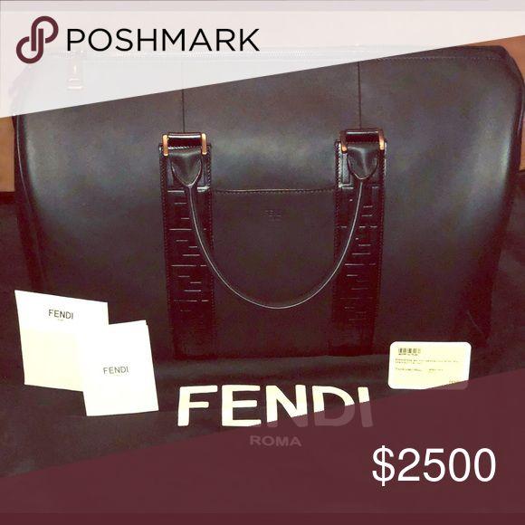 """311ab23671a7 Fendi """"Satchel"""" Black Leather Bag Travel bag with double handle and flat  outer pocket. The large internal compartment has a zipped poc…"""