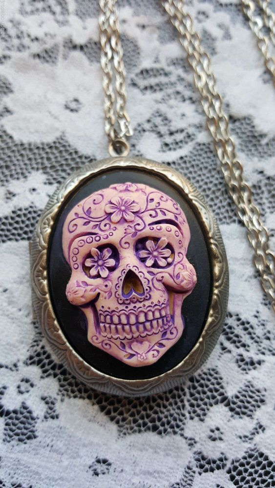 SKELETON NEW SHD HALLOWEEN DEAD Purple Sugar Skull  Silver Locket Necklace Photo #JROSEBOUTIQUE #LOCKETNECKLACE