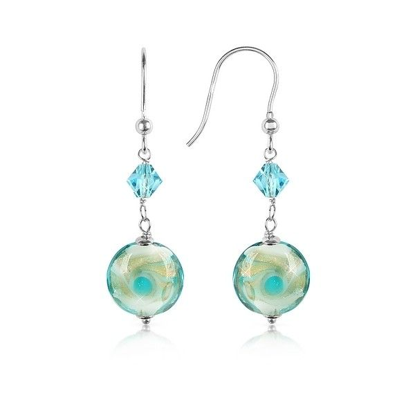 House of Murano Designer Earrings Vortice - Turquoise Swirling Murano... ($98) ❤ liked on Polyvore featuring jewelry, earrings, turquoise, glitter earrings, beaded earrings, murano glass jewelry, beads jewellery and beading earrings
