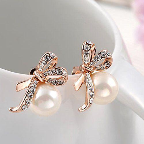 joyliveCY Women'S White Gold Earrings Jewelry Stud Rhinestone Pearls Ear-Rings x5xEhRJaBA