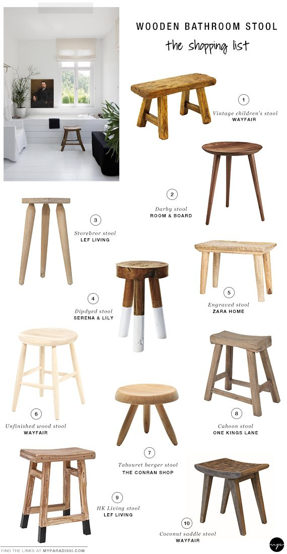 10 BEST: Wooden bathroom stools | Wooden bathroom, Stools and Wooden ...