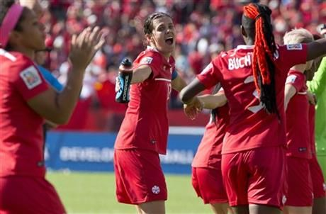Canada's Christine Sinclair (12) celebrates her team's win over China during a FIFA Women's World Cup soccer match in Edmonton, Alberta, Saturday, June 6, 2015. (Jason Franson/The Canadian Press via AP) MANDATORY CREDIT ▼6Jun2015AP|Sinclair gives Canada 1-0 win over China in World Cup opener http://bigstory.ap.org/article/941d88b8a1b944fd9c201be7a0f375f2 #2015_FIFA_Womens_World_Cup #Group_A_Canada_vs_China