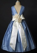 Elizabeth St John Collections Flower Girl Dresses -Pretty blue in Shantung.  Expensive and too dressy?