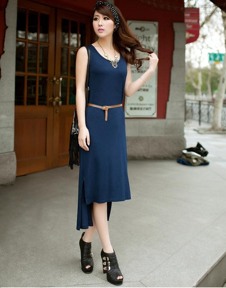navy blue gorgeous asymmetric trim maxi dress fashion