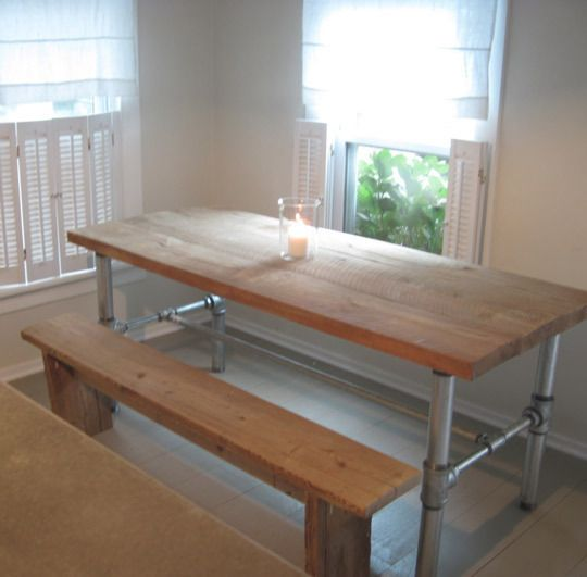 Cabin Kitchen Table - This project uses off-the-shelf pipes and fittings that are easily found at any big box or neighborhood hardware store.  - The pieces screw together with no tools whatsoever. Follow the step-by-step how-to, complete with a shopping list, at