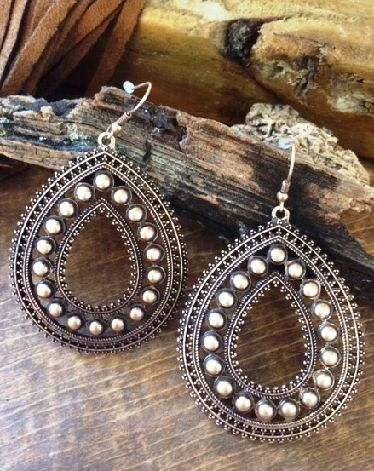 "BRONZE COWGIRL EARRINGS Earrings Are 2.5"" Long Staggering perspective"