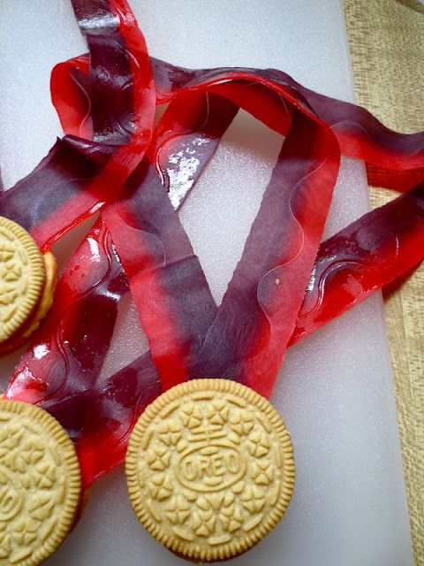 gold medals made with oreos and fruit by the foot! Love this.