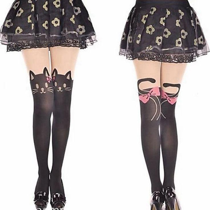 Donne moda fiocco rosa cat nylon collant ragazze kawaii collant autunno occhi del cat collant sexy cat testa code calze